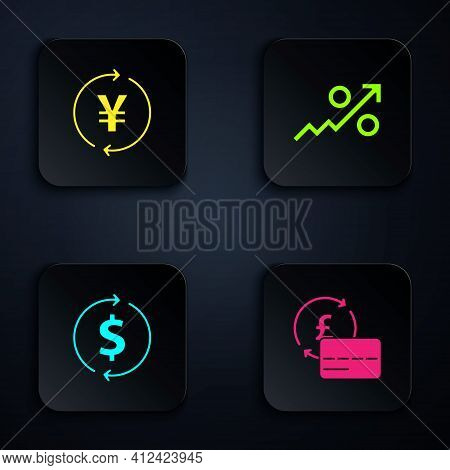 Set Credit Card, Coin Money With Yen, Financial Growth And Dollar And Percent Up Arrow. Black Square