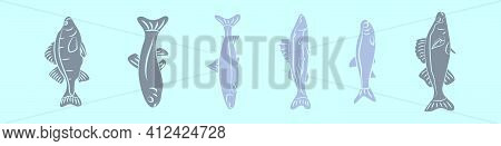 Set Of Fish Cartoon Icon Design Template With Various Models. Modern Vector Illustration Isolated On