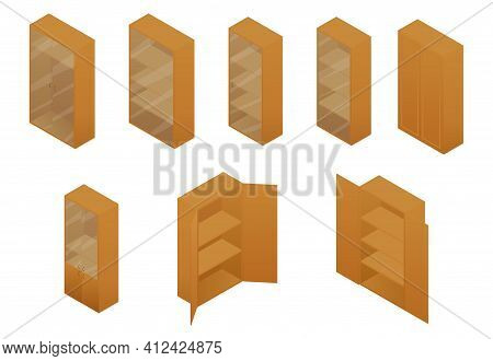 Cupboard Isometric Set Of Different Brown Rustic Furniture. Vector Illustration Cabinet, Vitrine Or