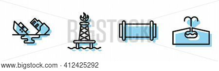 Set Line Industry Pipe, Wrecked Oil Tanker Ship, Oil Rig With Fire And Oilfield Icon. Vector