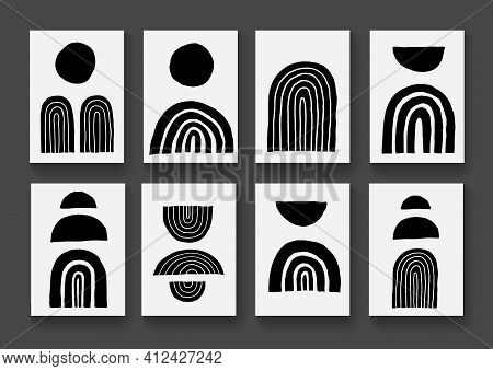 Set Of Creative Minimal Geometric Artistic Hand Sketched Elements. Mid Century Modern Posters Collec