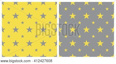 Big And Small Star Shape Pattern, Seamless Background. Color Trend 2021 Yellow And Gray. Textured Fo
