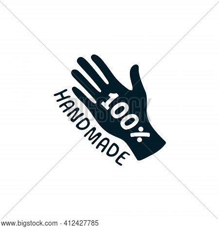 100 Handmade Label. Vector 100 Percent Hand Made Icon