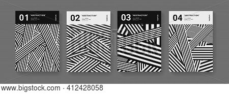 Modern Minimal Geometric Striped Covers Set. Abstract Trendy Pattern. Monochrome Posters.