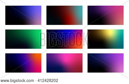 Set Of Abstract Dark Gradient Backgrounds. Modern Minimal Backdrops.