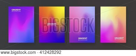 Abstract Fluid Color Backgrounds. Mesh Gradient Posters. Modern Vector Template For Brochure, Flayer