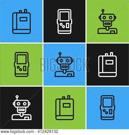 Set Line Book, Robot And Tetris Icon. Vector