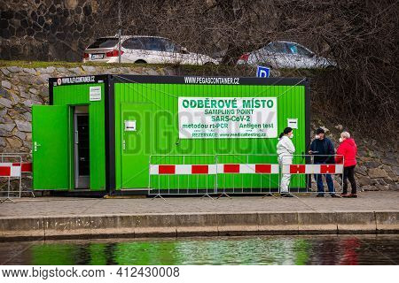 Prague, Czech Republic - March 12, 2021. Sampling Point In Container On The Riverbank Of Moldau With