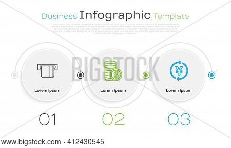 Set Line Credit Card Inserted, Coin Money With Dollar And Yen. Business Infographic Template. Vector