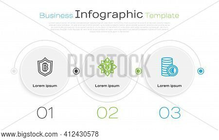 Set Line Shield With Bitcoin, Coin Money Yen And Euro Symbol. Business Infographic Template. Vector
