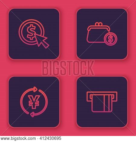 Set Line Coin Money With Dollar, Yen, Wallet Coins And Credit Card Inserted. Blue Square Button. Vec