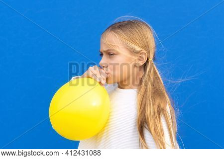 Close Up Photo Of Nice Pretty Lovely Girl Inflate Ballon Have Free Time Positive Cheerful Funny Girl