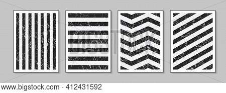 Black And White Striped Poster. Absract Geometric Backgrounds With Stripes. Modern Covers.
