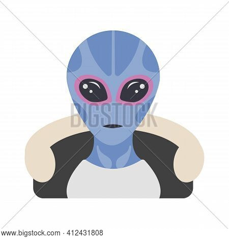 Resident Alien Hooded Jacket. Extraterrestrial Visitor Face Portrait In Human Clothing. Vector Web F