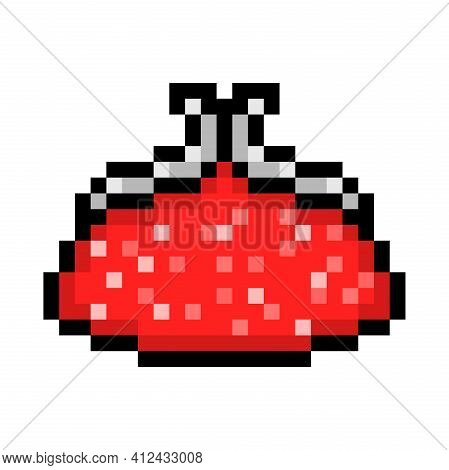Pixel Art Coin Purse Isolated On White Background. 8 Bit Elegant Red Sparkling Glitter Sequin Clutch