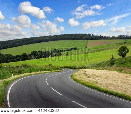 Curved asphalt road in the mountains