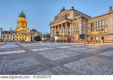 An Empty Gendarmenmarkt Square In Berlin Just Before Sunrise