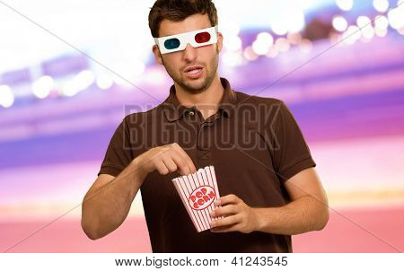Man Eating Popcorn And Watching 3d Movie, Outdoors