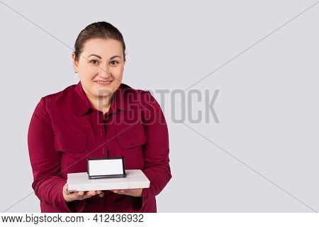 Smiling Business Lady , Large Woman, Holding Diary With Business Card Holder, Visiting Cards, An Emp