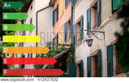 Energy Efficiency Label For A House. House With Electricity And Energy Consumption Represented By An