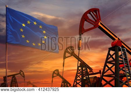European Union Oil Industry Concept, Industrial Illustration. European Union Flag And Oil Wells And