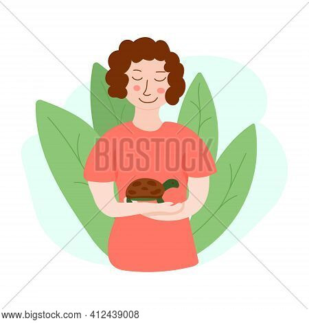 Vector Illustration Of Girl With Tortoise. Design For Web-sites, Flyers, Banners, Posters, Prints, E