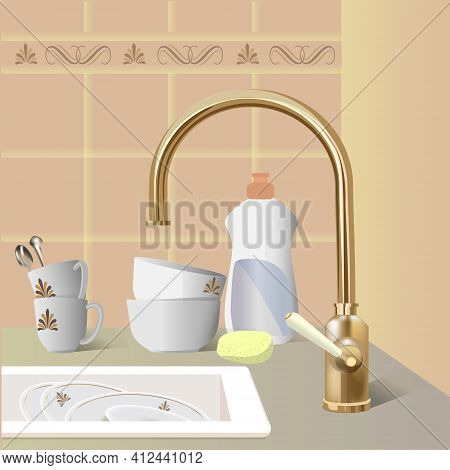 Kitchen Faucet And Sink With The Dishes For Washing. Realistic 3d Vector Illustration.