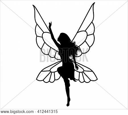 Silhouette Of A Fairy. Isolated On White.