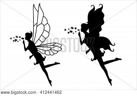 Collection Of Silhouettes Of A Fairy On White.