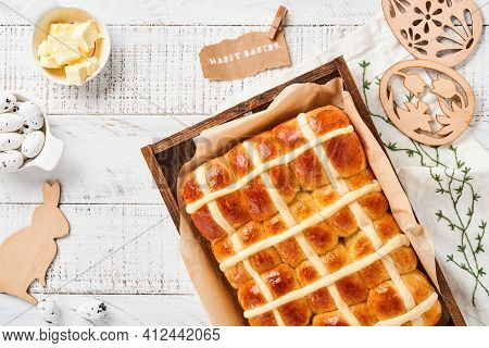 Easter Hot Cross Buns. Traditional Breakfast And Easter Baking Holiday Decorations Rabbiton White Wo