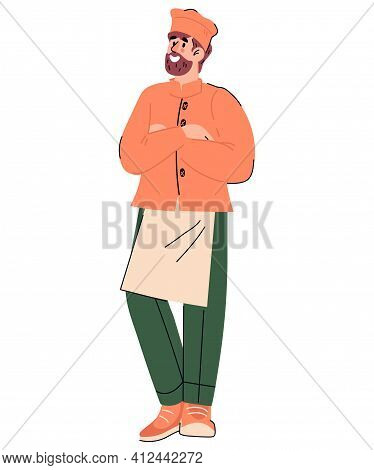 Cartoon Chief Cook In Uniform And Hat Standing Smiling, Flat Vector Illustration Isolated On White B