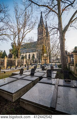 Prague, Czech Republic - February 24, 2021. The Non-public Cemetery Of The Nuns As A Part Of Vysehra