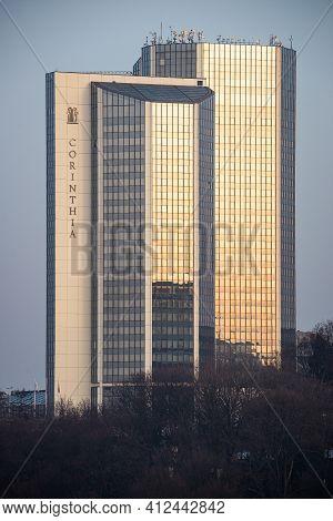 Prague, Czech Republic - February 24, 2021. Building Of Corinthia Tower Hotel By Nusle Bridge In Sun