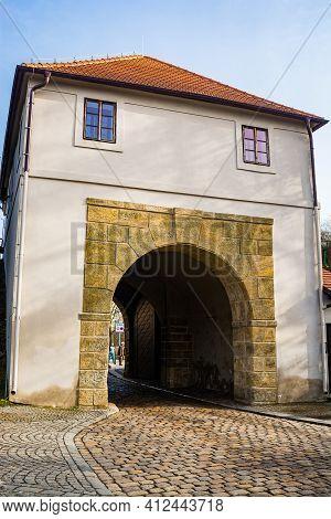 Prague, Czech Republic - February 24, 2021. Renaissance Gate - Taborska Brana - As A Entrance To Vys