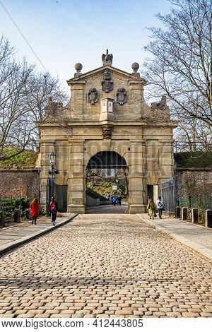 Prague, Czech Republic - February 24, 2021. Second Gate - Leopoldova Brana - As A Entrance To Vysehr