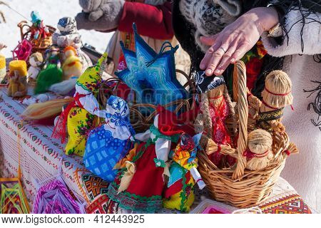 Ufa, Chishmy, Russia, 03.14.2021. The National Holiday In Russia Is Maslenitsa. Seeing Off Winter. A