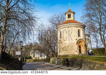 Prague, Czech Republic - February 24, 2021. Rotonda Of St. Martin In Vysehrad Fortress Area In Winte