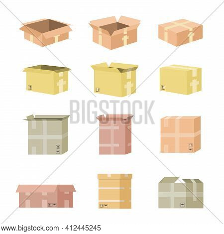 Set Of Cardboard Box Mockups. Isolated On White Background. Vector Carton Packaging Box Images. Eps
