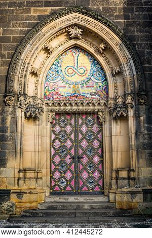 Prague, Czech Republic - February 24, 2021. Detail Of Another Entrance Of Basilica Minor In Vysehrad