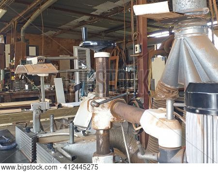 Background Of Rusty Carpenter's Tools. Woodworking Machinery In The French West Indies. View Of The