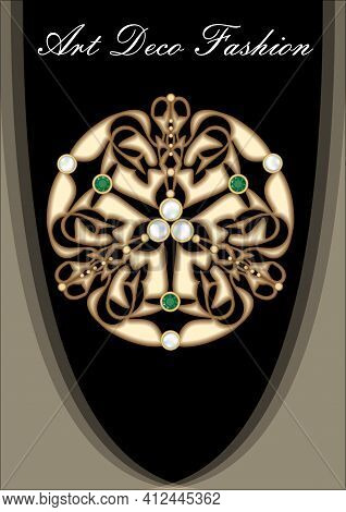 Art Deco Gold Brooch With Pearls And Green Emeralds. Richly Decorated Ancient Jewel. Circular Gold M