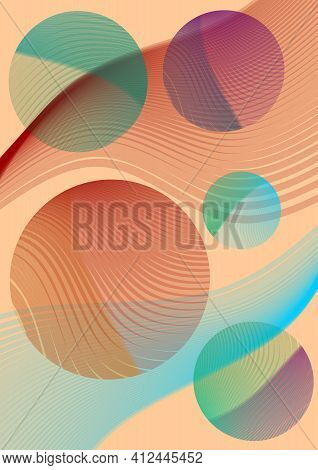 Abstract Background Combined From Semi-transparent Waves Overlaid With Circles. Soft Color Shades Of