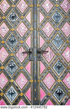Prague, Czech Republic - February 24, 2021. Detail Of Doors With Eagle And Lion - Czech Emblem Of Ba