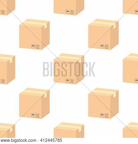A Seamless Pattern With Postal Parceles In A Boxes With A Delivery Address And Envelopes. Mail Deliv