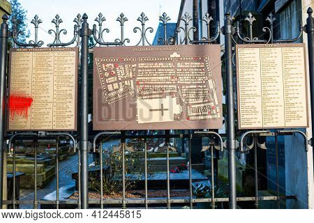 Prague, Czech Republic - February 24, 2021. Map And List Of Famous Celebrities Buried In Vysehrad Ce