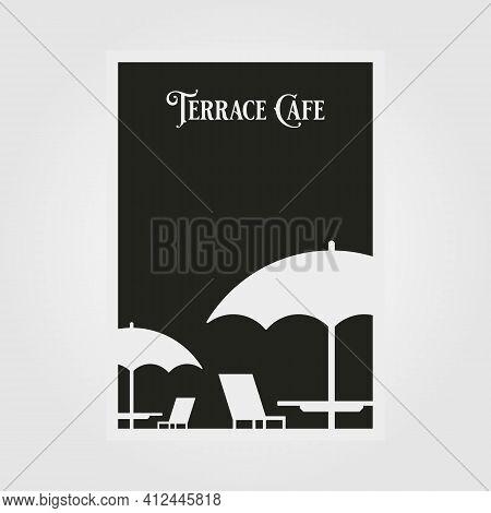 Terrace Cafe Vector Poster Minimal Illustration Design, Black And White Poster Design