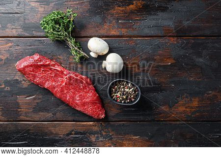 Whole Tri Tip Steak With Fresh Seasoningsm Thyme, Organic Tri-tip Roast With Fat Marbled Through The