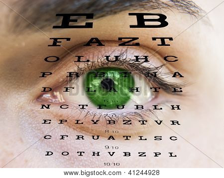 Eye test vision chart with man s face background