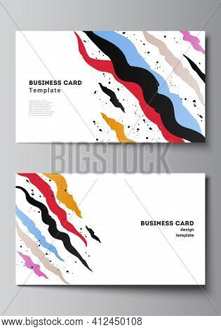 Vector Layout Of Two Creative Business Cards Design Templates, Horizontal Template Vector Design For