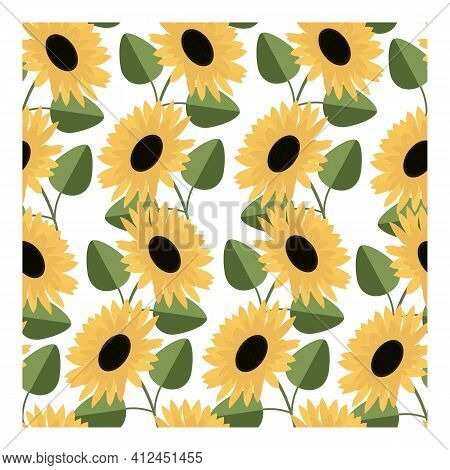Seamless Pattern With Sunflowers On A Light Background. Decorative Floral Design. Suitable For Texti